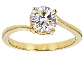 Fabulite Strontium Titanate and white zircon 18k yellow gold over sterling silver ring 1.77ctw