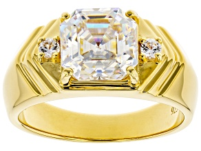 Fabulite Strontium Titanate and white zircon 18k yellow gold over silver gents ring.
