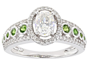 Fabulite Strontium Titanate and chrome diopside with white zircon rhodium over silver ring 1.66ctw