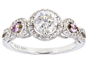 Fabulite Strontium Titanate and pink sapphire with white zircon rhodium over silver ring 1.58ctw