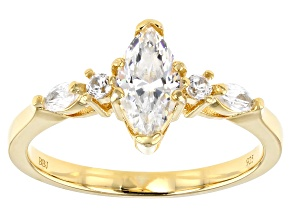 Fabulite Strontium Titanate and white zircon 18k yellow gold over sterling silver ring 1.09ctw.
