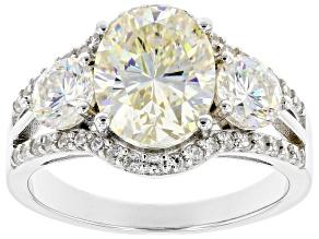 Fabulite Strontium Titanate and white zircon rhodium over sterling silver ring 5.05ctw.