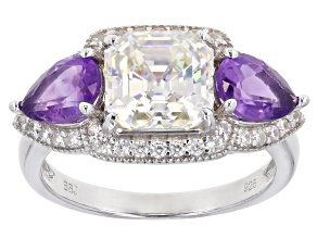 Fabulite Strontium Titanate, African Amethyst And White Zircon Rhodium Over Silver Ring 4.52ctw.