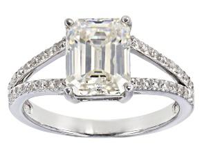 Fabulite Strontium Titanate and white zircon rhodium over sterling silver ring 3.44ctw.