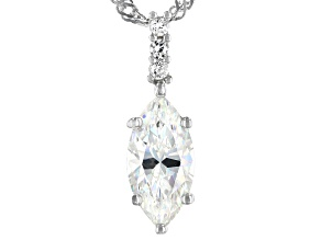 Fabulite Strontium Titanate and white zircon rhodium over sterling silver pendant 3.06ctw.