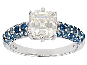 Fabulite Strontium Titanate and london blue topaz rhodium over sterling silver ring 3.14ctw.