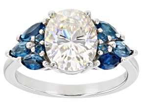 Fabulite Strontium Titanate and london blue topaz rhodium over sterling silver ring 4.15ctw.