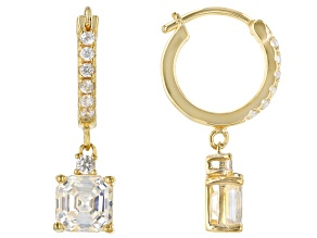 Fabulite Strontium Titanate and white zircon 18k yellow gold over sterling silver earrings 3.13ctw