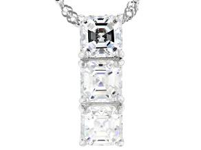 Fabulite Strontium Titanate rhodium over sterling silver pendant 2.10ctw.