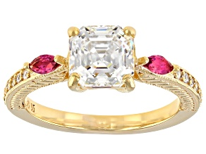 Fabulite Strontium Titanate and lab bixbite with  zircon 18k yellow gold over silver ring 2.68ctw.