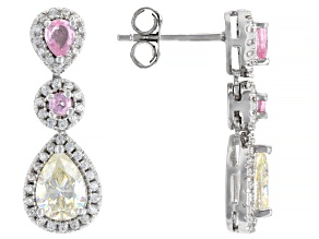 Fabulite Strontium Titanate and pink spinel with white zircon rhodium over silver earrings 2.49ctw