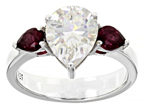 Fabulite Strontium Titanate and rhodolite garnet rhodium over sterling silver ring 3.75ctw.