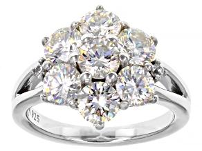 Fabulite Strontium Titanate and white zircon rhodium over sterling silver ring 4.95ctw.