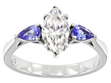 Picture of Fabulite Strontium Titanate and tanzanite rhodium over sterling silver ring 1.64ctw.