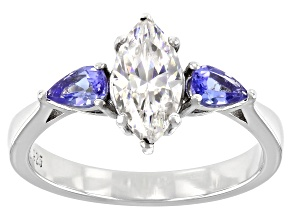Fabulite Strontium Titanate and tanzanite rhodium over sterling silver ring 1.64ctw.