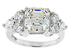 Fabulite Strontium Titanate rhodium over sterling silver ring 4.69ctw.