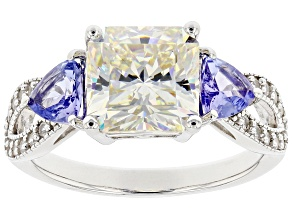 Fabulite Strontium Titanate with tanzanite and white zircon rhodium over silver ring  4.06ctw.