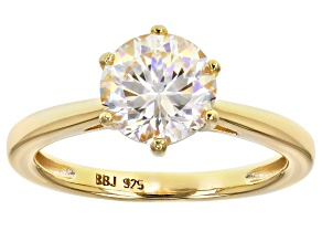 Fabulite Strontium Titanate 18k yellow gold over silver ring 2.60ct.