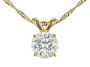 Fabulite Strontium Titanate 18k yellow gold over silver pendant 3.30ct.