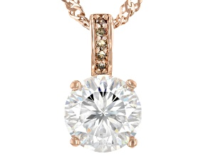 Fabulite Strontium Titanate and champagne diamond 18k rose gold over silver pendant 2.63ctw.