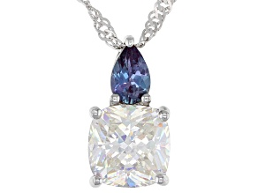 Fabulite Strontium Titanate and lab created alexandrite rhodium over silver pendant 3.67ctw