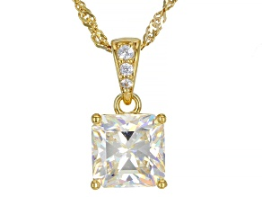 Fabulite Strontium Titanate and white zircon 18k yellow gold over sterling silver pendant 3.26ctw
