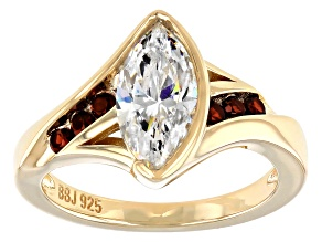 Fabulite Strontium Titanate and red garnet 18k yellow gold sterling silver ring 2.49ctw.