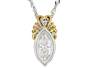 Fabulite Strontium Titanate and zircon rhodium and 18k yellow gold over silver pendant 1.27ctw.