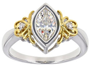 Fabulite Strontium Titanate and white zircon rhodium and 18k yellow gold over silver ring 1.30ctw