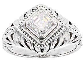 Fabulite Strontium Titanate rhodium over sterling silver ring .70ct