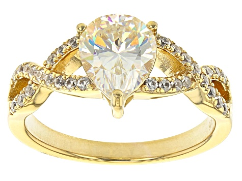 Fabulite Strontium Titanate and white zircon 18k yellow gold over sterling silver ring 2.28ctw.