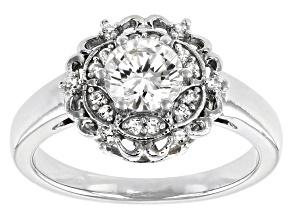 Fabulite Strontium Titanate and white zircon rhodium over sterling silver ring 1.33ctw.
