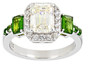Fabulite Strontium Titanate with chrome diopside and white zircon rhodium over silver ring 3.06ctw