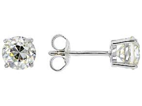 Fabulite Strontium Titanate rhodium over sterling silver stud earrings 2.38ctw