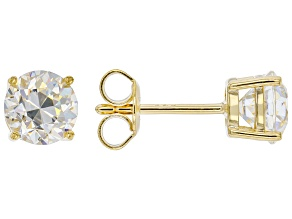 Fabulite Strontium Titanate 18k yellow gold over sterling silver stud earrings 2.38ctw
