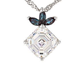 Fabulite Strontium Titanate and lab created alexandrite rhodium over silver pendant 3.48ctw.