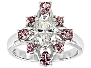 Fabulite Strontium Titanate and color shift garnet rhodium over sterling silver ring 2.52ctw.