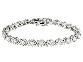 Fabulite Strontium Titanate and white zircon rhodium over sterling silver bracelet 9.60ctw.