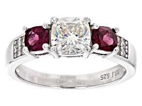 Fabulite Strontium Titanate with rhodolite and zircon rhodium over sterling silver ring 2.02ctw.