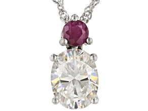 Fabulite Strontium Titanate And Mozambique Ruby  Rhodium Over Sterling Silver Pendant 2.53ctw.