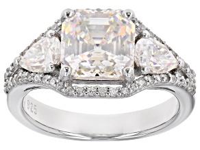 Fabulite Strontium Titanate and white zircon rhodium over sterling silver ring 4.46ctw.