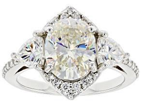 Fabulite Strontium Titanate and white zircon rhodium over sterling silver ring 4.68ctw.