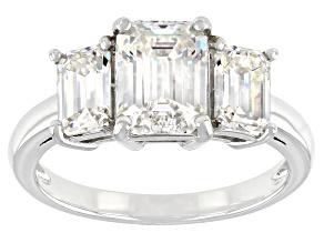 Fabulite Strontium Titanate rhodium over sterling silver three stone ring 3.50ctw.