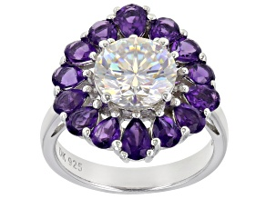 Fabulite Strontium Titanate and African amethyst rhodium over sterling silver ring 6.11ctw.