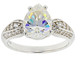 Candlelight Fabulite Strontium Titanate and white zircon rhodium over sterling silver ring 3.35cwt.