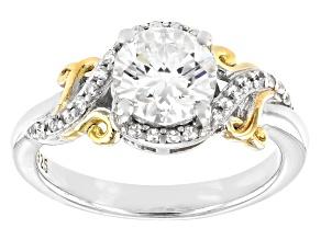 Fabulite Strontium Titanate & white zircon rhodium and 18k yellow gold over silver ring 1.53ctw
