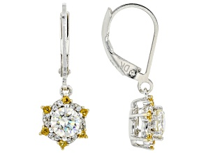 Fabulite Strontium Titanate with zircon and citrine rhodium over silver earrings 1.61ctw