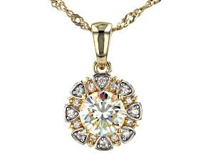 Fabulite strontium titanate and zircon 18k yellow gold and rhodium over silver pendant 1.45ctw
