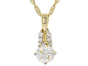 Fabulite strontium titanate and white zircon 18k yellow gold over silver pendant 1.49ctw
