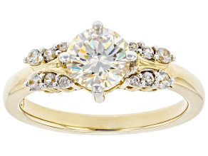 Fabulite strontium titanate and white zircon 18k yellow gold over silver ring 1.63ctw